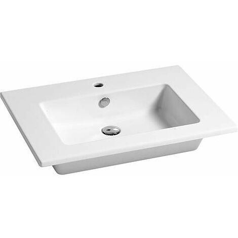 Vasque ELIKIA 710x510mm, céramique, blanc avec trou de robinet