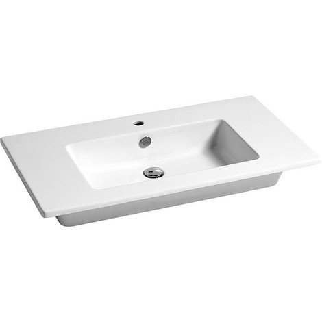 Vasque ELIKIA 910x510mm, céramique, blanc avec trou de robinet