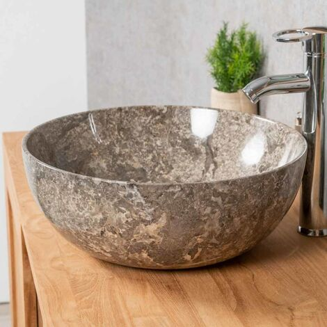 Vasque en marbre à poser LEA gris 40 cm