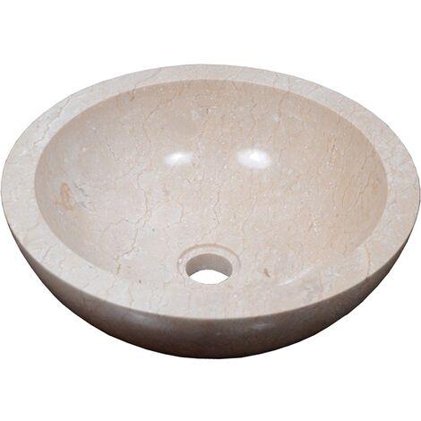 Vasque en pierre BASTI ronde Ø35 cm crème - Crème