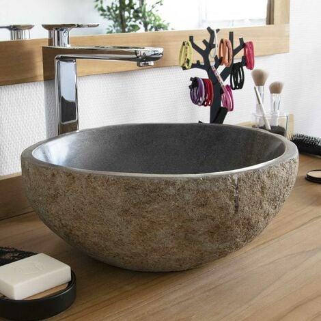 Vasque en pierre de rivière à poser Eden-Roc 30 - Naturel