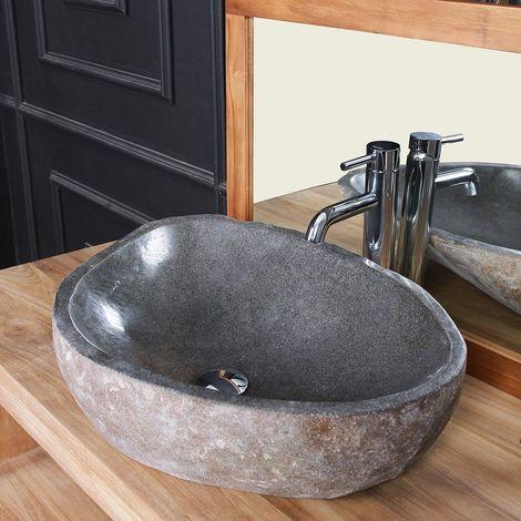 Vasque en pierre de rivière naturelle - Gris