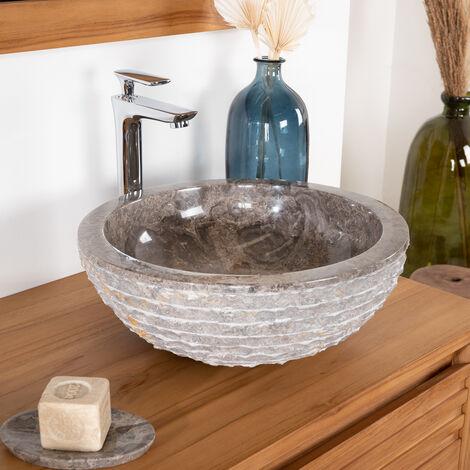 Vasque en pierre de salle de bain VESUVE gris taupe 40cm - 285