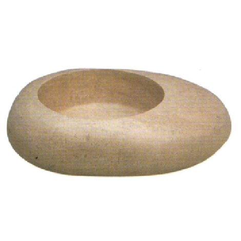 Vasque en pierre forme galet travertin noce