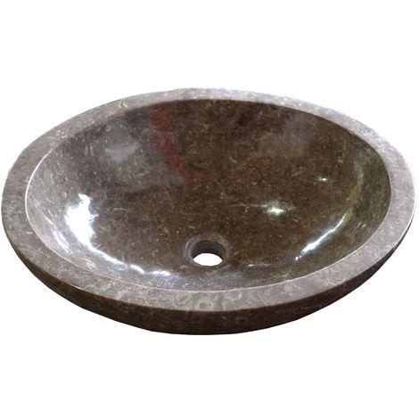 Vasque en pierre LAMPUR ovale 50 x 40 cm gris - Gris
