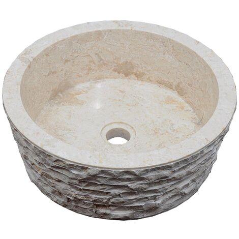 Vasque en pierre SIRSA ronde Ø40 cm crème - Crème