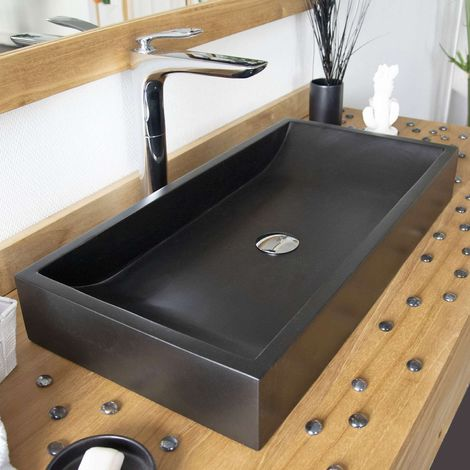 Vasque en Terrazzo effet béton Noir à poser, Boreal