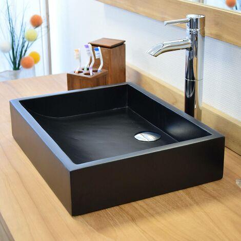 Vasque en Terrazzo effet béton Noir à poser, Coreal