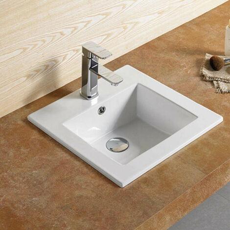 Vasque encastrable carrée céramique - 42x42 cm - Bent