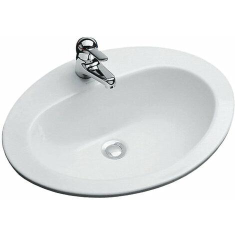 Vasque JACOB DELAFON OVALE 63 x 48 blanc percee 1 trou, prepercee 2 trous, Ref.E1273-00