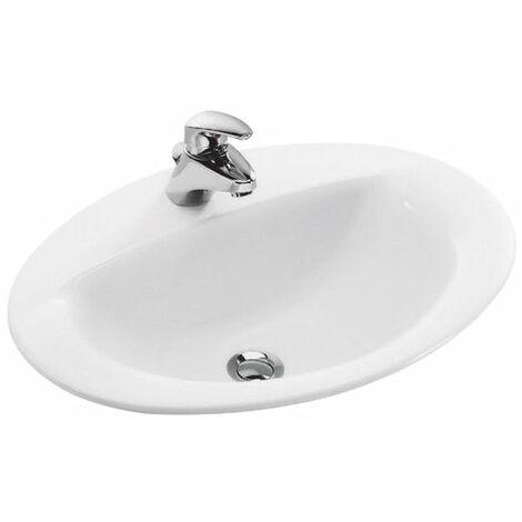 Vasque JACOB DELAFON PATIO 56 x 43 a encastrer par dessus blanc Ref. 0E4155-00