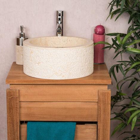 Vasque lave main à poser de salle de bain en marbre ELBE crème 35