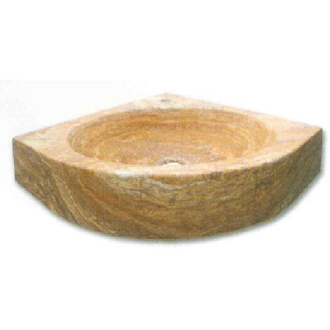 Vasque lave-mains d'angle Travertin Jaune 42x42x12 cm