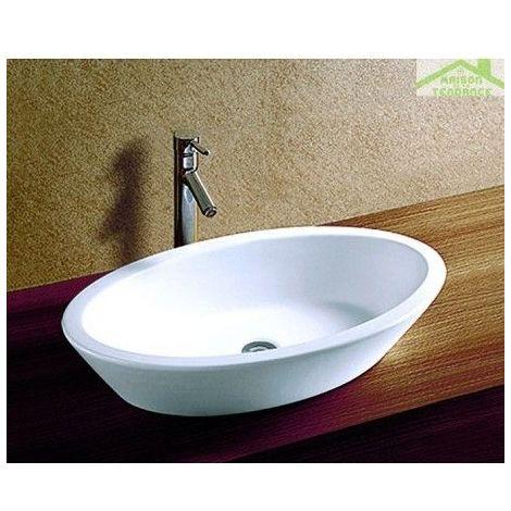 Vasque oval à poser sur un meuble de bain 69x40x16 cm en céramique