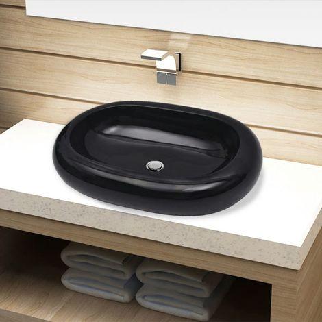 Vasque ovale ceramique Noir pour salle de bain