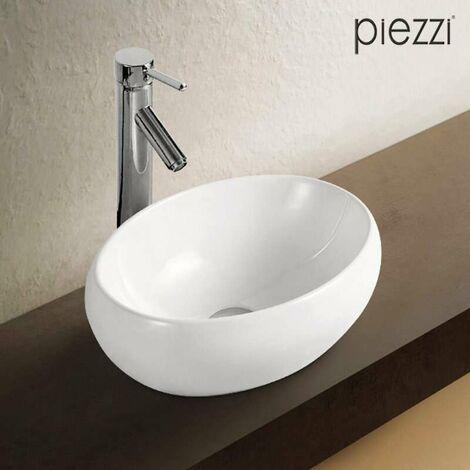 Vasque ovale en céramique blanche - Carina