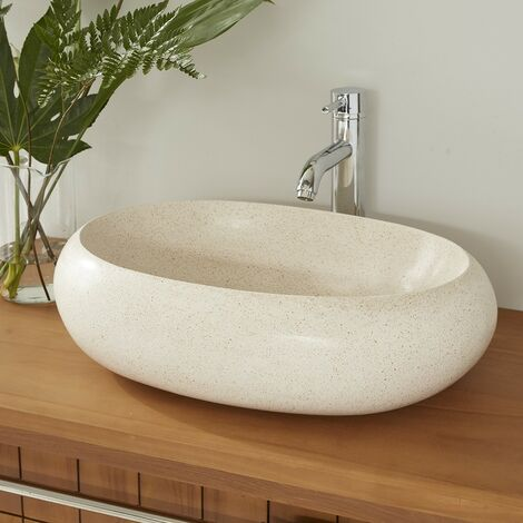 Vasque ovale en terrazzo - Blanc