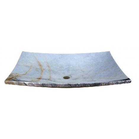Vasque pierre Assiette Afyon White 65x45x15 cm