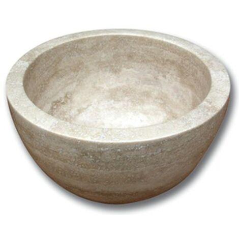 Vasque pierre Bol Travertin Beige 32x15 cm