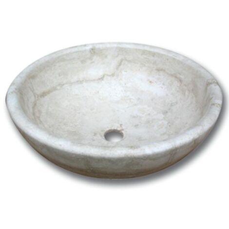 Vasque pierre Bol Travertin Beige 42x15 cm