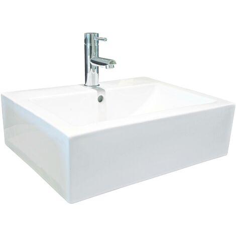 Vasque rectangle à poser CUBIC - Blanc - 52x41cm - Céramique - Avec trop plein