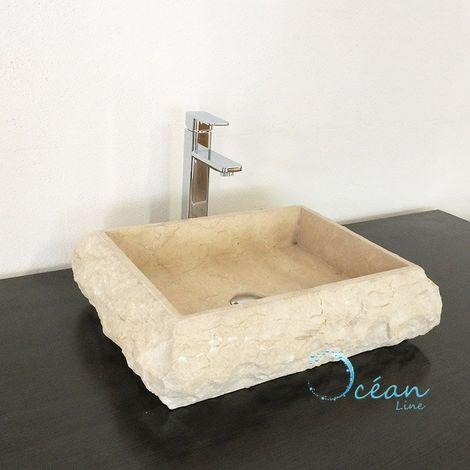 Vasque rectangulaire 50 cm à poser en Marbre crème - Lucie