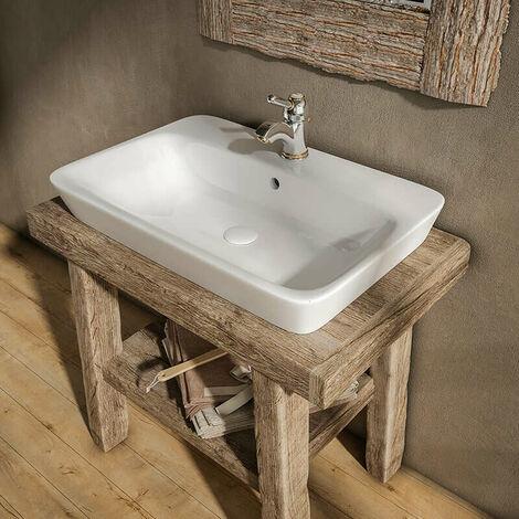 Vasque rectangulaire 65 cm à poser en céramique - Kenya