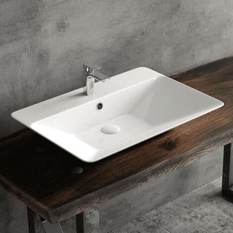 Vasque rectangulaire à poser ou à suspendre en céramique 65 cm - Vilma