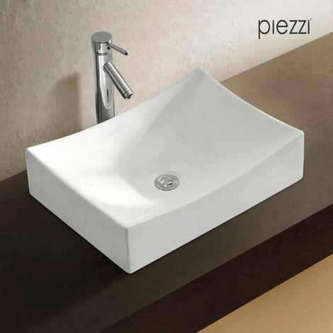 Vasque rectangulaire en céramique blanche - Agata
