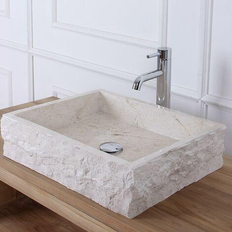 Vasque rectangulaire en pierre de marbre