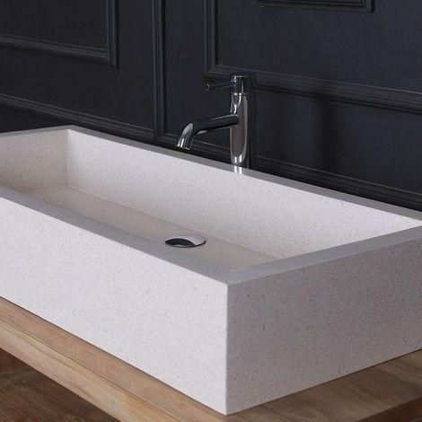 Vasque rectangulaire en terrazzo - Blanc