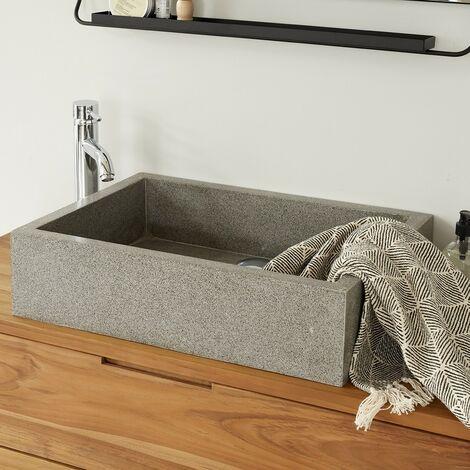 Vasque rectangulaire en terrazzo - Gris