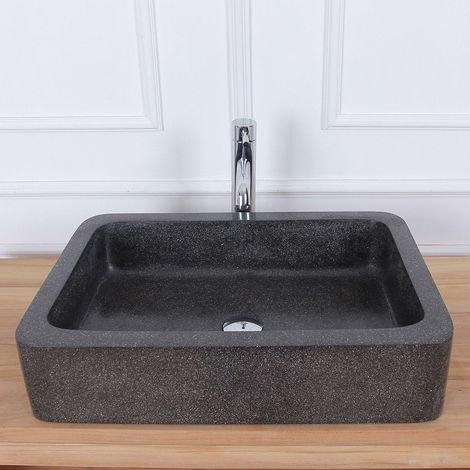 Vasque rectangulaire en terrazzo - Noir