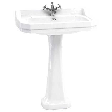 Vasque rectangulaire et colonne réhaussée Edouardien BURLINGTON 80 cm