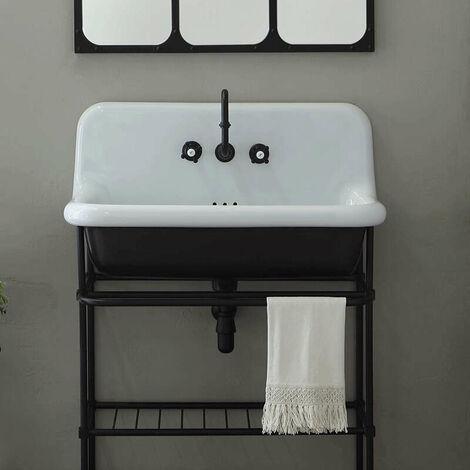 Vasque rétro en céramique 90 cm - True Colors - Noir