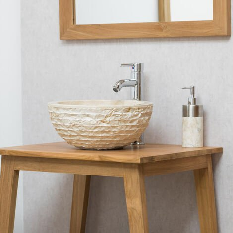 vasque ronde poser en pierre vesuve cr me 35cm. Black Bedroom Furniture Sets. Home Design Ideas