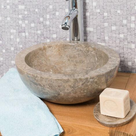 vasque ronde barcelone poser en marbre de couleur gris. Black Bedroom Furniture Sets. Home Design Ideas