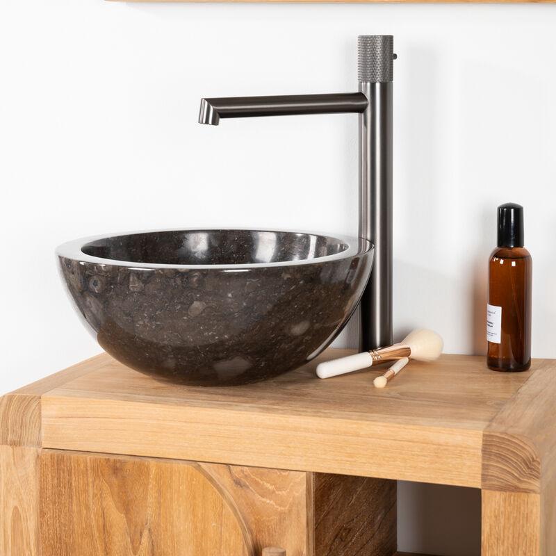 vasque noir a poser Vasque Ronde BARCELONE à poser en marbre de couleur Noir - Diamètre 30 cm