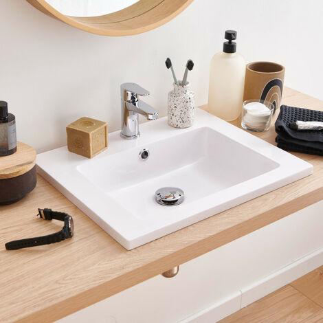 Vasque Salle de Bain à Encastrer en Résine de Synthèse L50 ARIA - Blanc