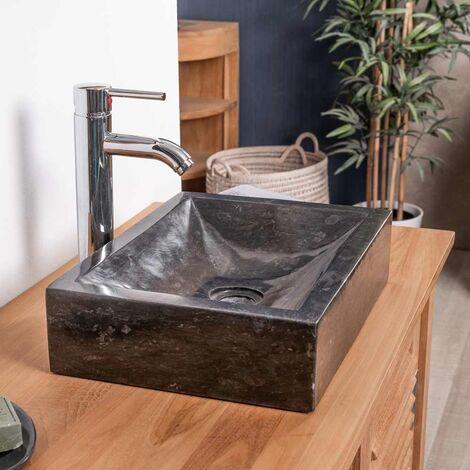 Vasque salle de bain à poser ALEXANDRIE rectangle 30cm x 40cm noir