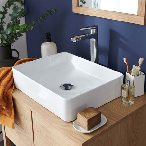 Vasque Salle de bain à poser Céramique Blanche L47 x P36 cm ROMY - Blanc