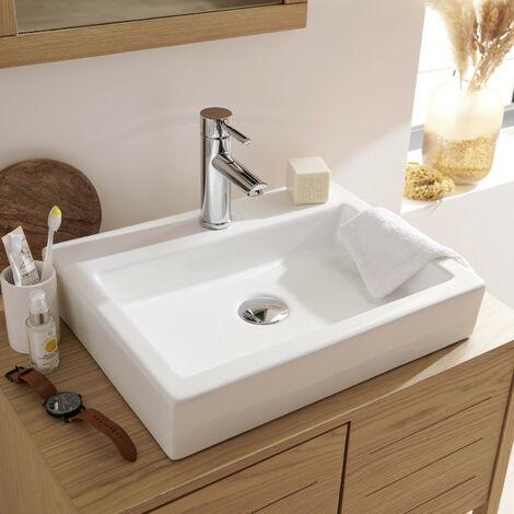 Vasque Salle de Bain à Poser en Céramique Blanche L48 x P38 PADI