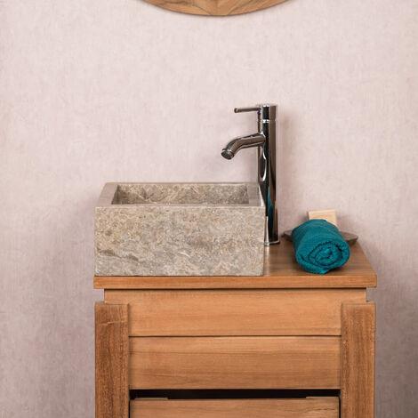Vasque salle de bain à poser en marbre MILAN gris taupe 30cm