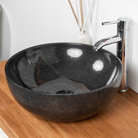 vasque salle de bain à poser en marbre noir LEA 40 CM