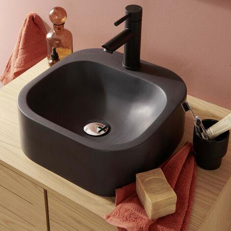 Vasque Salle de bain à Poser en Résine de Synthèse Noire L37 cm SIAN - Lot de 2 - Noir