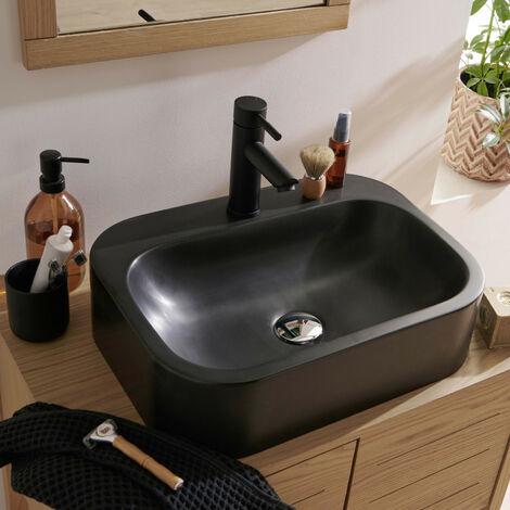 Vasque Salle de bain à Poser en Résine de Synthèse Noire L50 cm ITO - Lot de 2