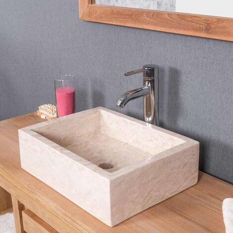 Vasque salle de bain à poser MILAN rectangle 30cm x 40cm crème