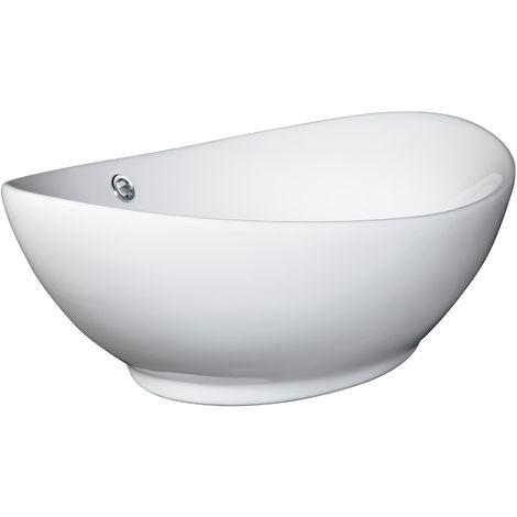 Vasque Salle de Bain à Poser ou Montage Mural Design en Céramique 58,5 cm x 38,5 cm x 19,5 cm Blanc