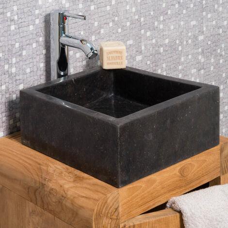 Vasque salle de bain en marbre MILAN noir 30cm