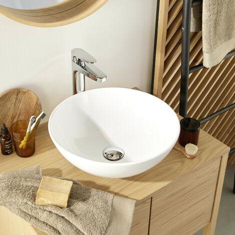Vasque Salle de bain Ronde à Poser 40cm OMA - Lot de 2 - Blanc